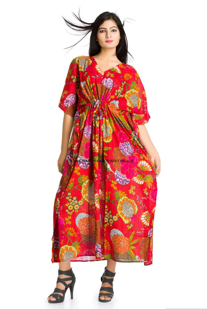 Red Fashion Indian Kaftan Women Wear Floral Robes Pure