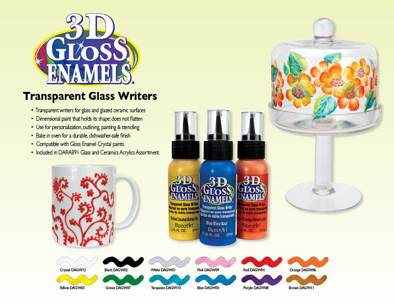 decoart 3d gloss enamel transparent glass paint writers 2