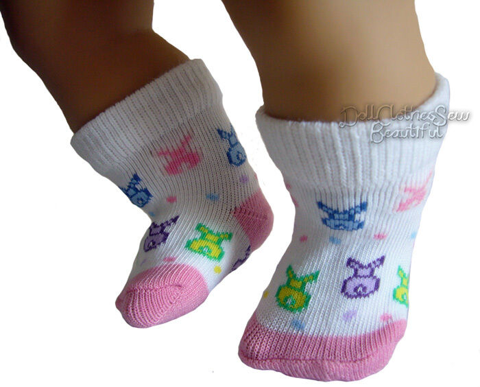 """Easter Footie Socks with Bunnies fits 15"""" Bitty Baby"""