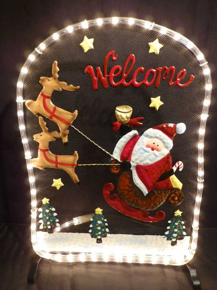 Christmas decorations rope light father christmas and for Christmas deer decorations indoor