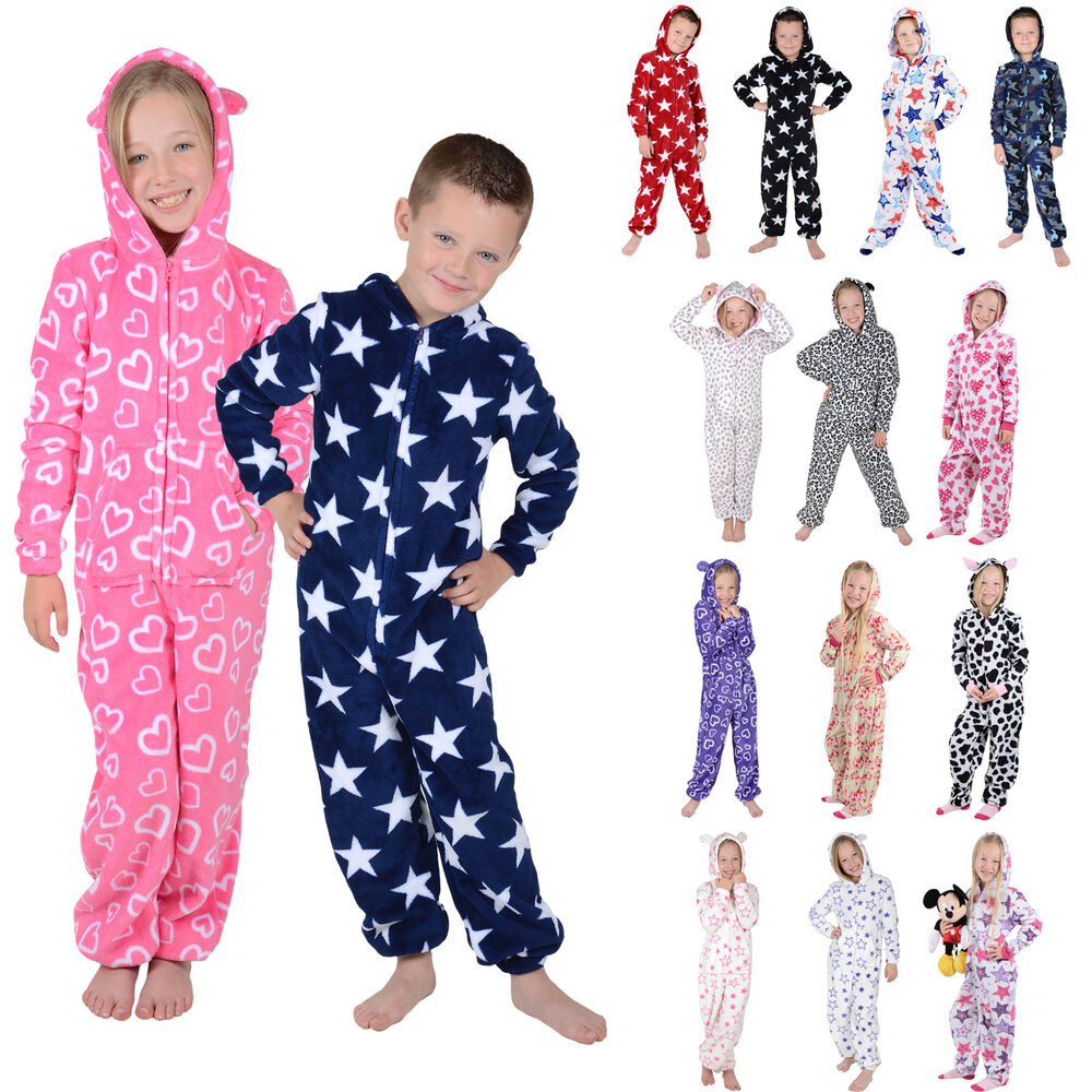 Kids Boys Girls Hooded Fleece All One Pyjamas