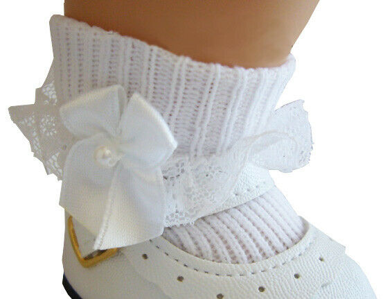 Lace Trim Socks W White Satin Bows made for Bitty Baby