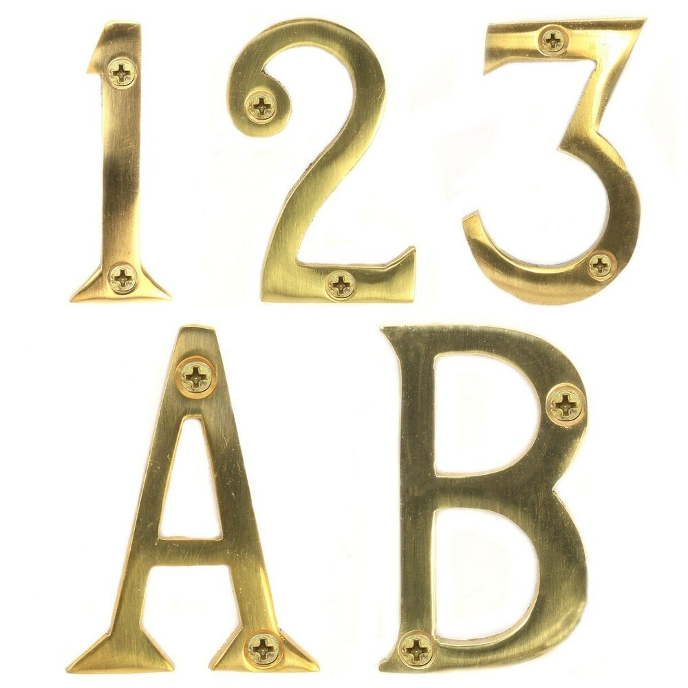 Polished solid brass house numbers screws 2 50mm front for Classic house numbers