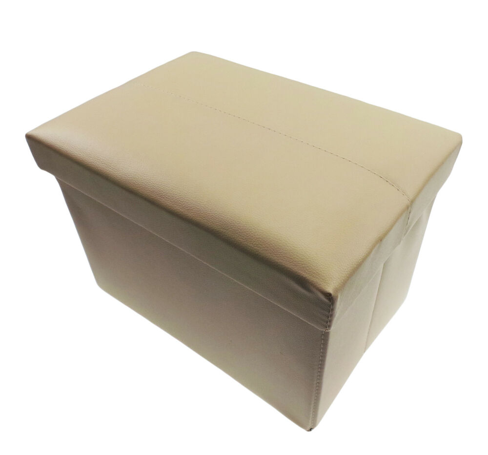 Ottoman Folding Storage Pouffe Toys Box Stool Seat Home Bedroom Beige ...