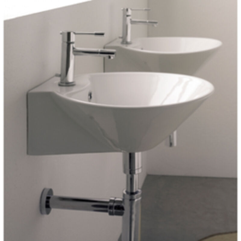 Counter Mounted Sink : ... 8010 R Wall Mounted or Above Counter Bathroom Sink in White New eBay