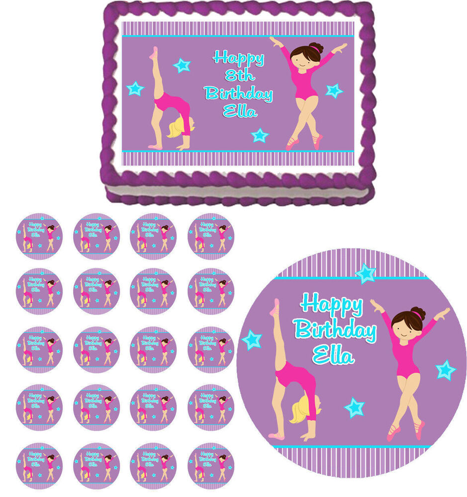 Gymnastic Cake Decorations Uk : Gymnastics Gym Girl Edible Birthday Cake Cupcake Topper ...