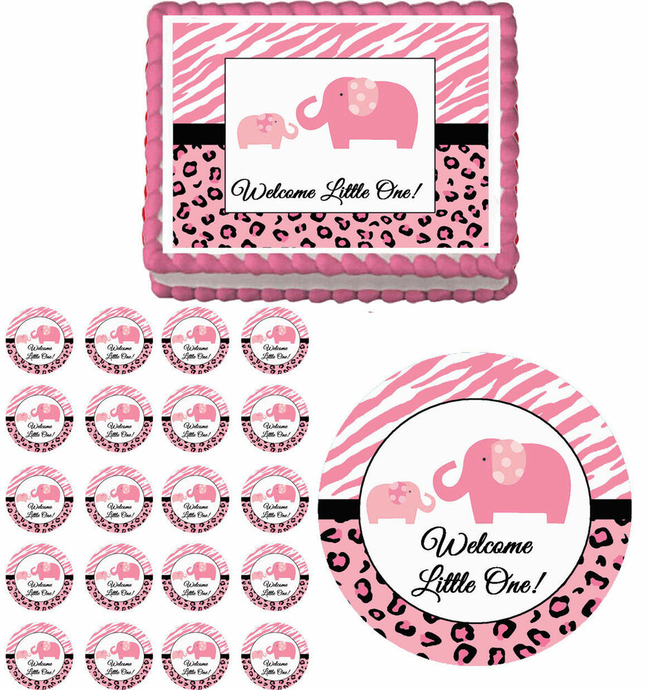 pink sweet safari elephants edible baby shower cake cupcake toppers