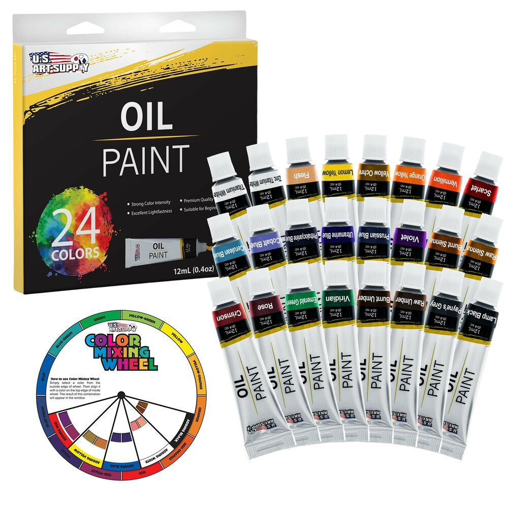 Us art supply 24 color 12ml tubes artist oil paint set for Canvas painting supplies
