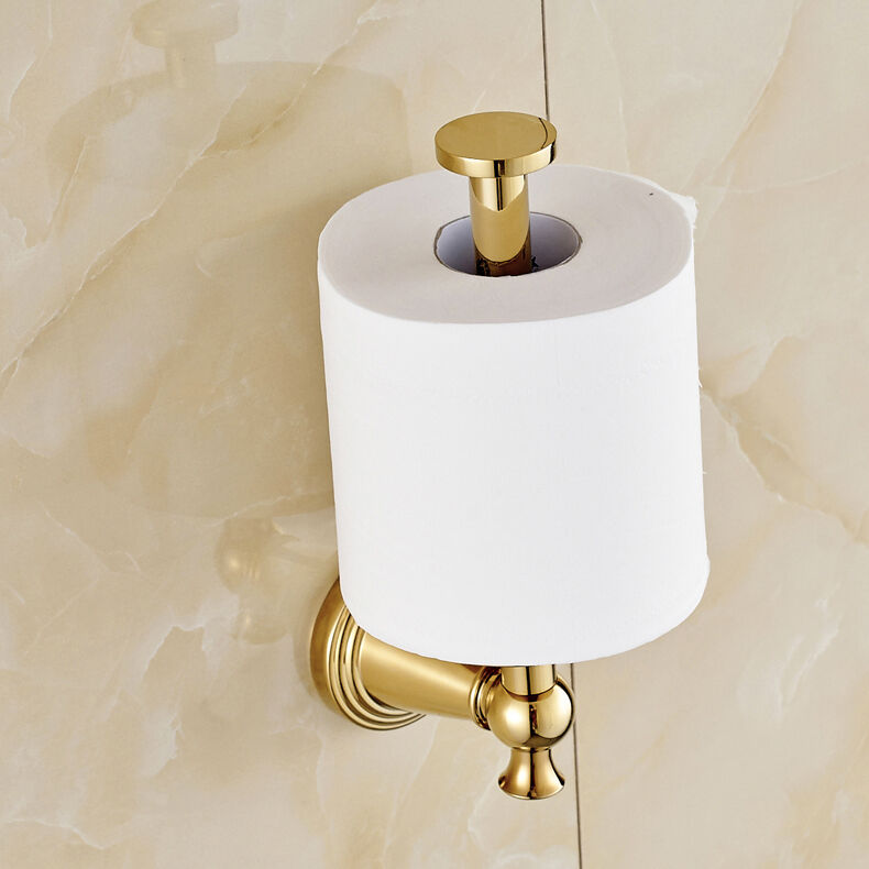 Gold polished toilet roll holder wall mount paper bracket ebay - Gold toilet paper holder stand ...