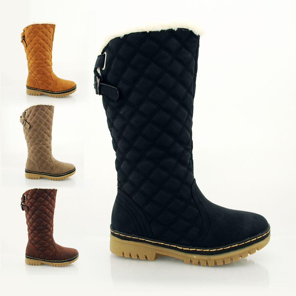 WOMENS LADIES FLAT MID CALF QUILTED FUR LINED GIRLS WINTER