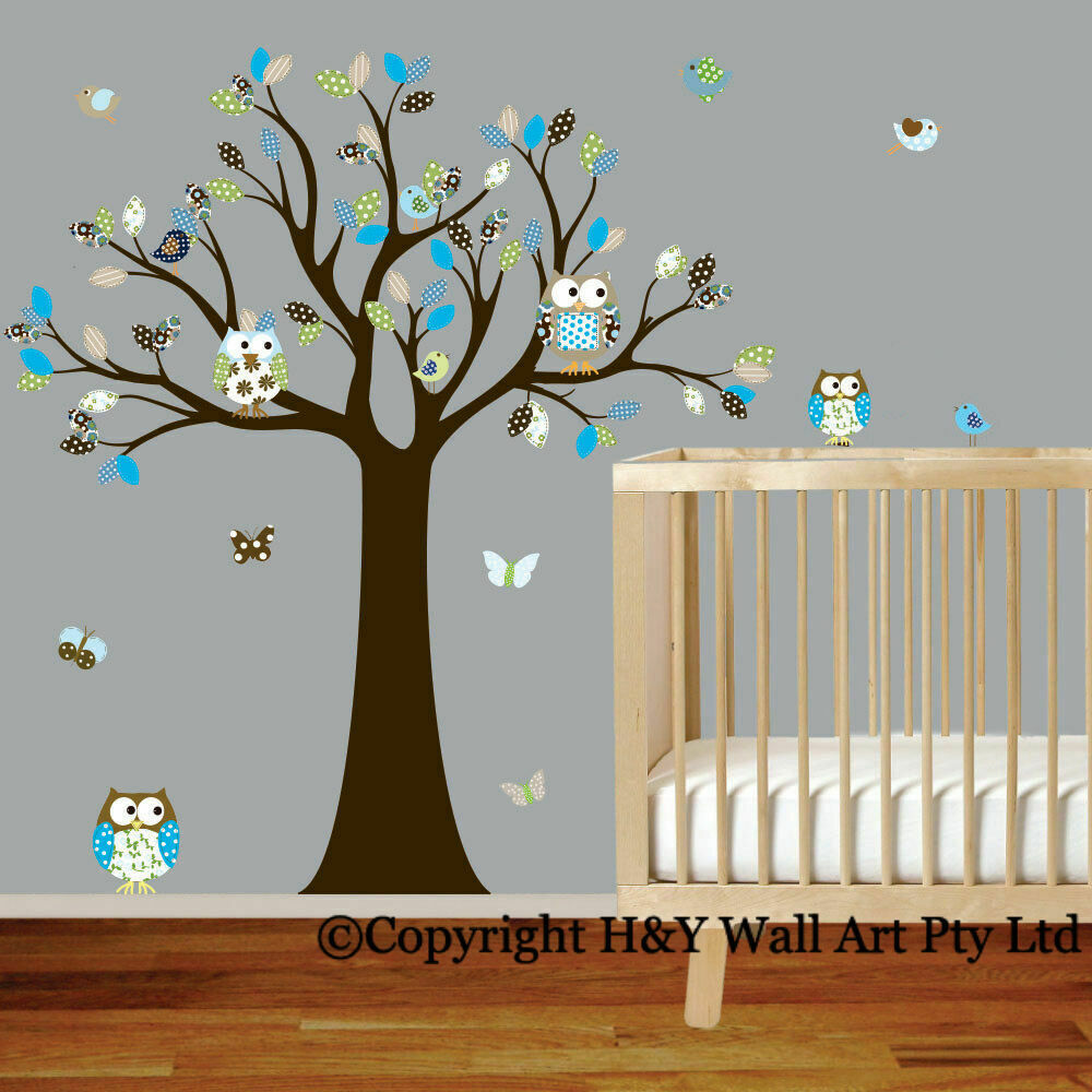 cot side owl tree removable wall stickers boys decal nursery kid art mural decor ebay. Black Bedroom Furniture Sets. Home Design Ideas