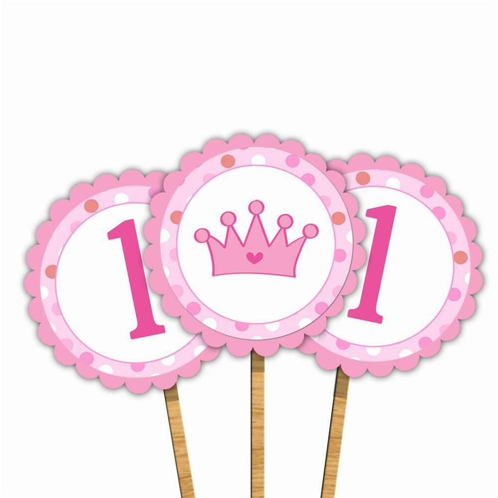 A Cupcake Themed 1st Birthday Party With Paisley And Polka: 30 Pink Crown Princess Cupcake Topper Girl 1st Birthday