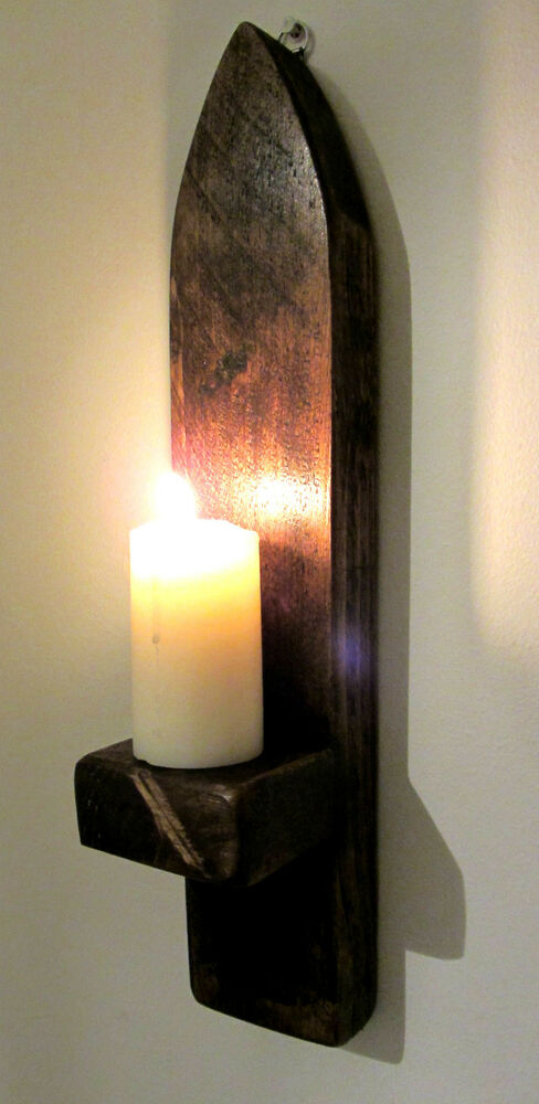 Wood Wall Sconce Candle Holder : 41CM SOLID PLANK WOOD RUSTIC DARK WAXED GOTHIC ARCH WALL SCONCE CANDLE HOLDER eBay