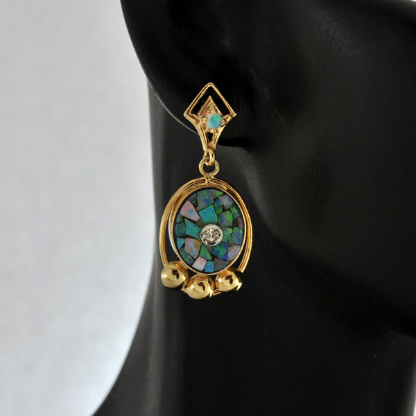 Vintage Solid 22 Carat Gold Necklace Earring Pair Set: Vintage 14K Solid Gold Diamond & Opal Dangle Earrings Post