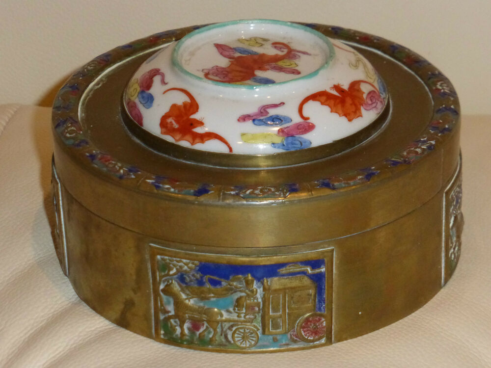 vintage oriental chinese round cloisonne brass box with porcelain lid ebay. Black Bedroom Furniture Sets. Home Design Ideas
