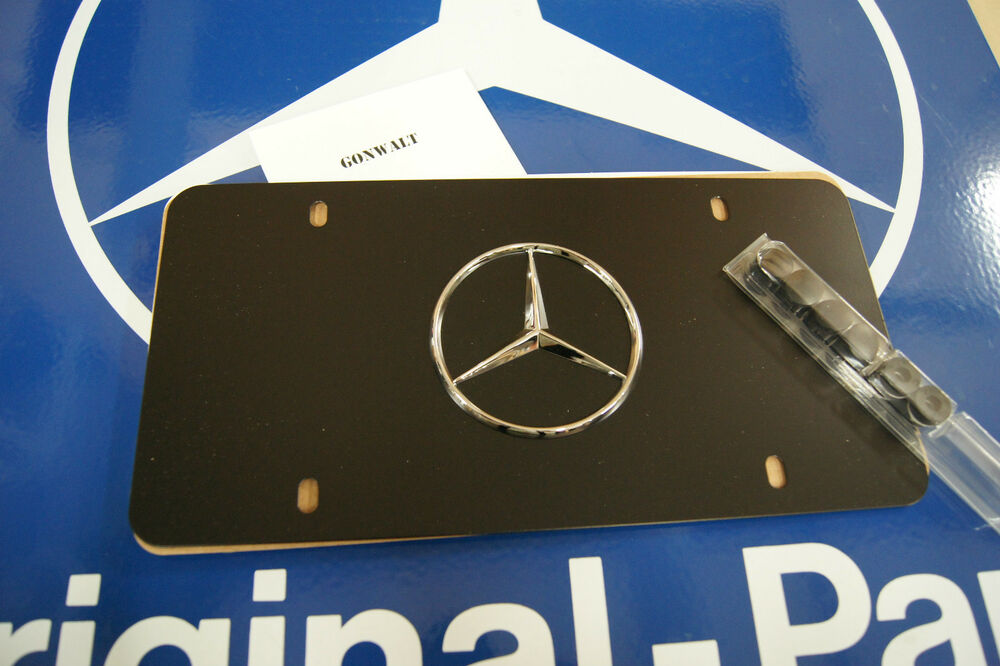 Mercedes benz genuine black powder star logo plate for Mercedes benz license plate logo