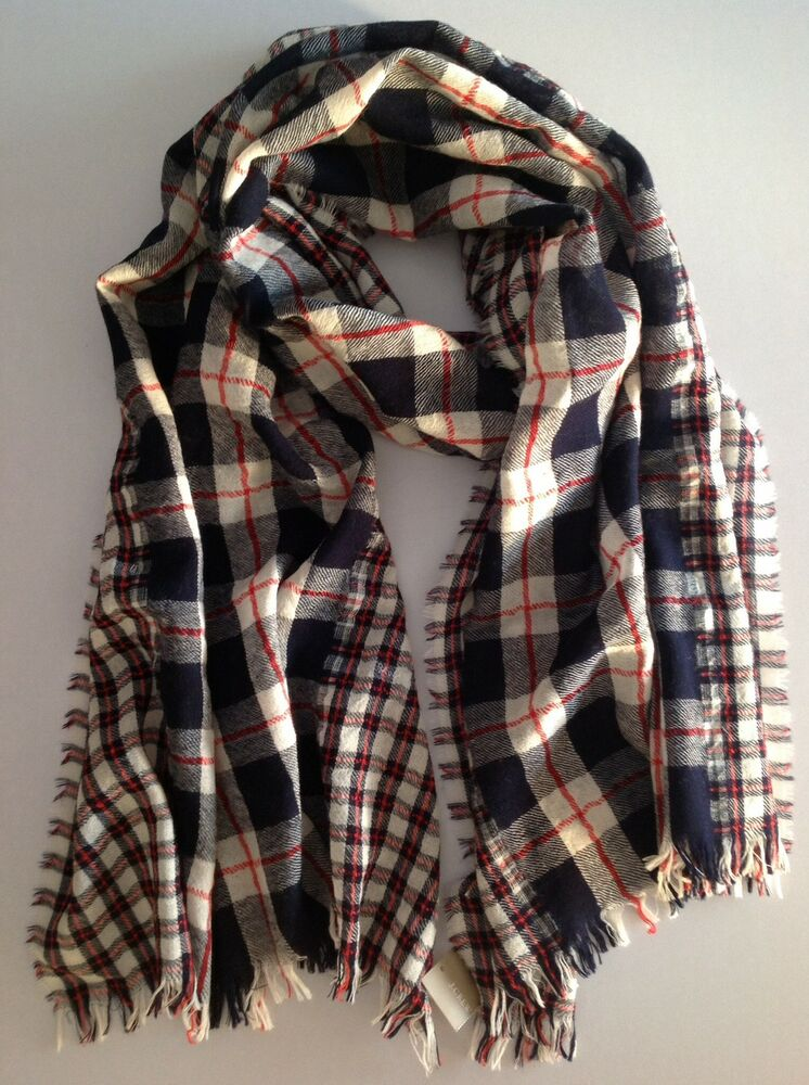 j crew plaid mix scarf in navy red nwt wool linen martlocal. Black Bedroom Furniture Sets. Home Design Ideas