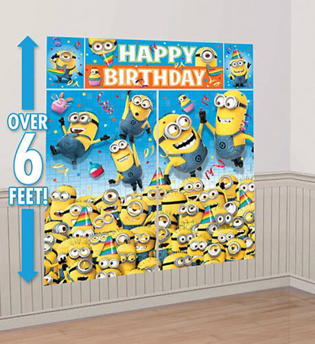 despicable me photo backdrop birthday party wall decor. Black Bedroom Furniture Sets. Home Design Ideas