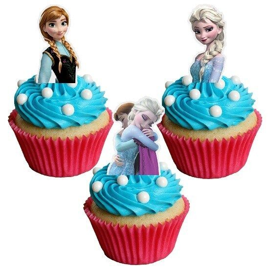 Elsa Edible Cake Decoration : 24xDISNEY FROZEN ELSA & ANNA Edible decorations cup cake ...
