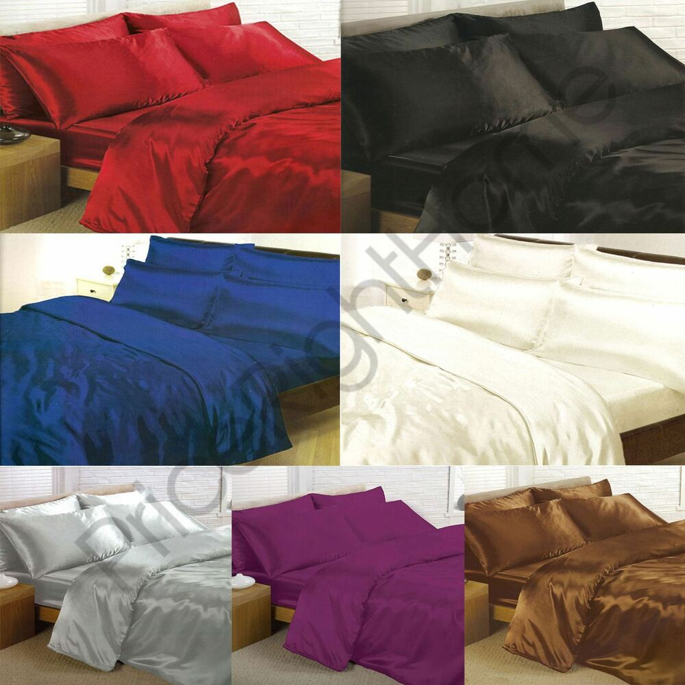 Satin Bedding Sets Duvet Cover Fitted Sheet