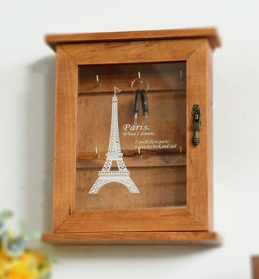 Home Decorators Key Wall Art ~ Retro wood key box paris eiffel tower home decor wall