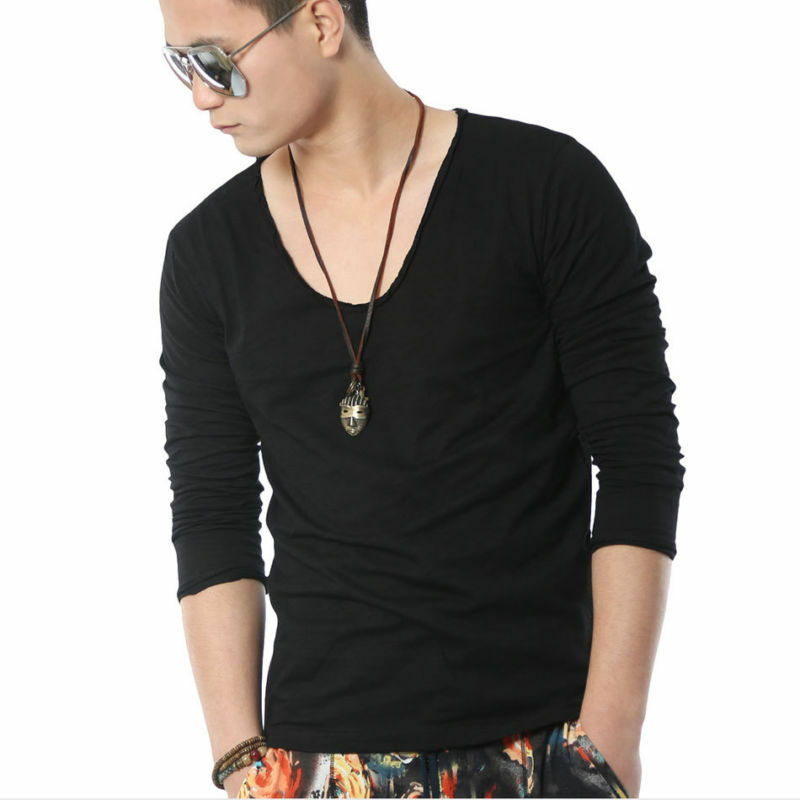 mens deep scoop neck sexy tee long sleeve rolling border hawaii t shirt ebay. Black Bedroom Furniture Sets. Home Design Ideas