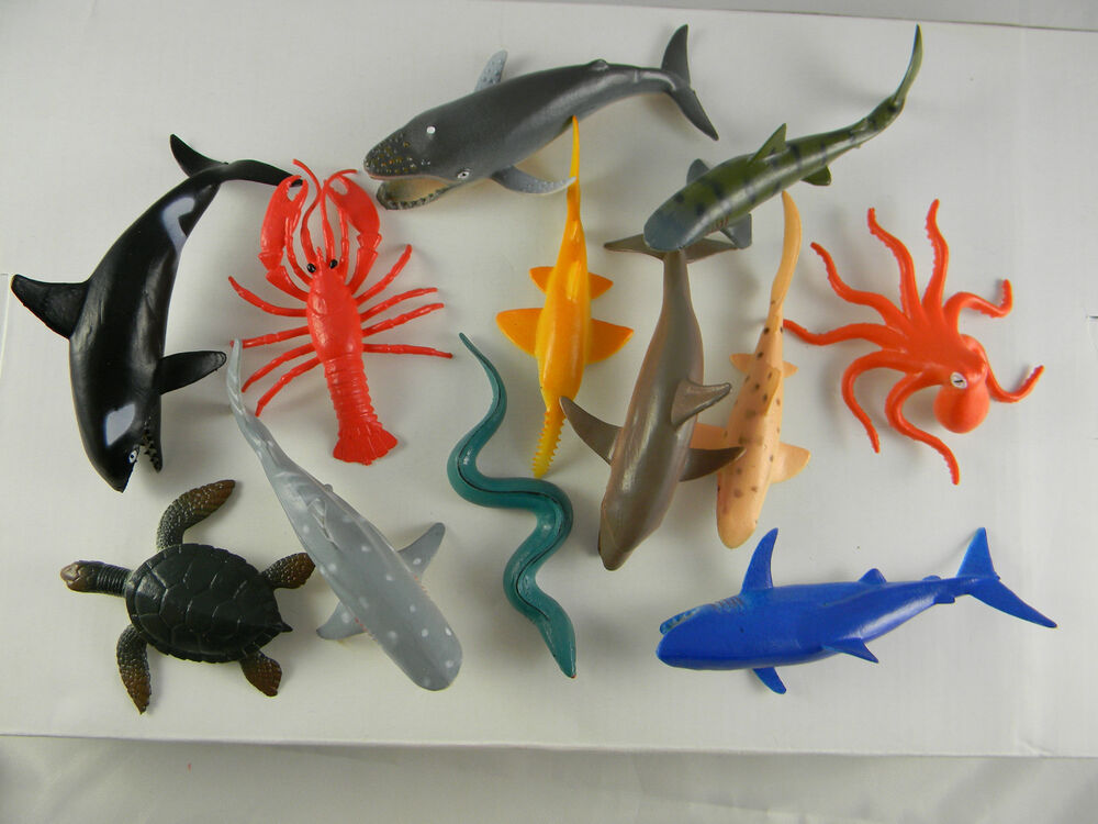 Sea Creature Toys : Toy marine ocean fish sea creatures shark whale turtle