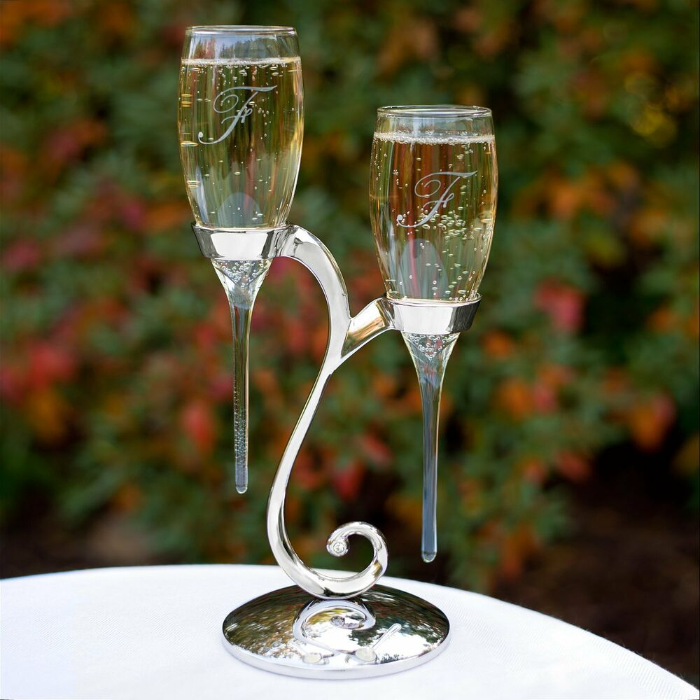 hortense b hewitt raindrop toasting flutes glassware with swirl stand 20772 new ebay. Black Bedroom Furniture Sets. Home Design Ideas