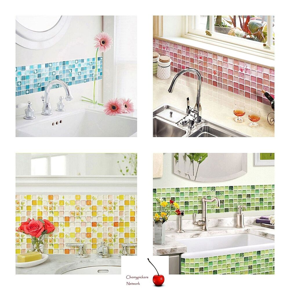 Home bathroom kitchen 3d wall decor sticker wallpaper tile for Home wallpaper ebay