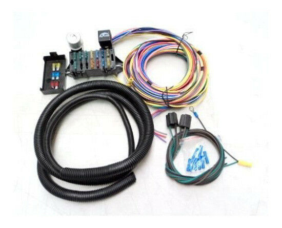 universal 15 circuit street rod wiring wire harness kit. Black Bedroom Furniture Sets. Home Design Ideas