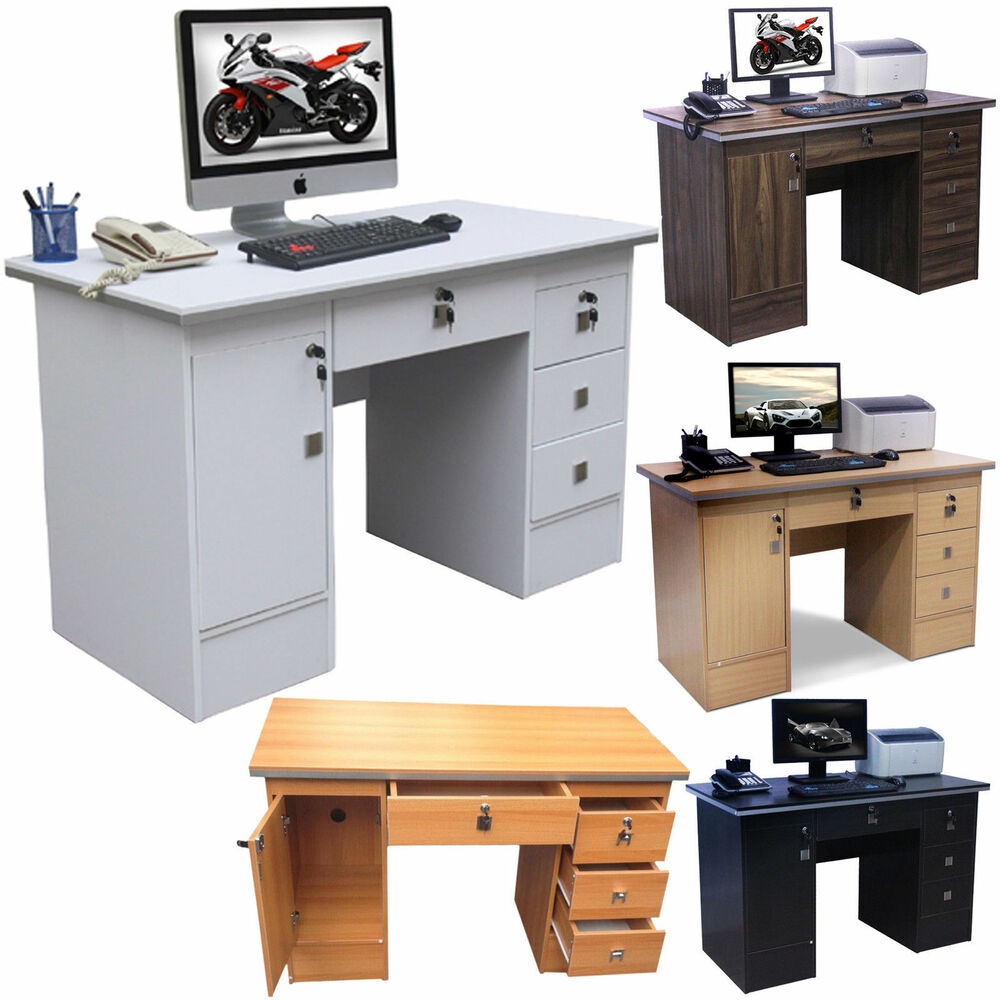 computer desk pc table home office workstationfurniture in four clr with locks ebay. Black Bedroom Furniture Sets. Home Design Ideas
