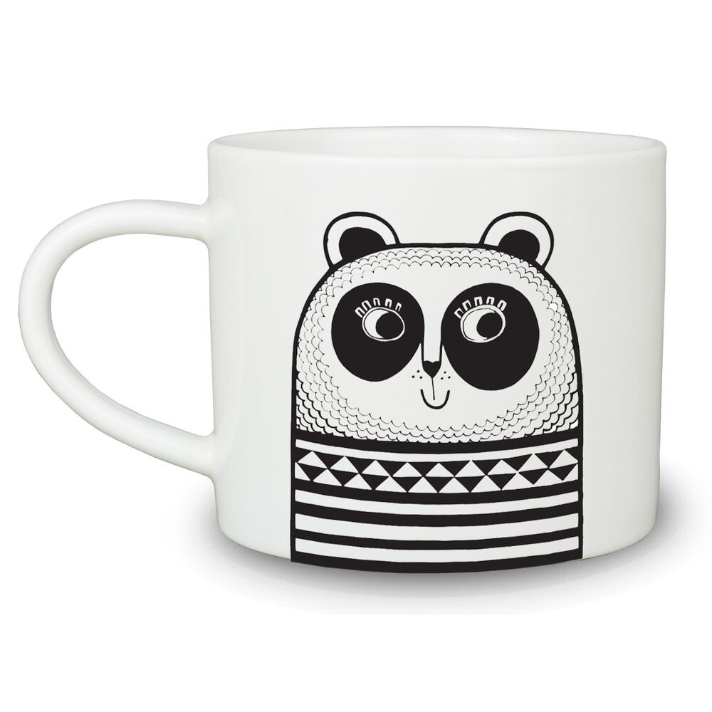 jane foster panda visage tasse simple fine bone china mug noir blanc 350 ml excentrique ebay. Black Bedroom Furniture Sets. Home Design Ideas