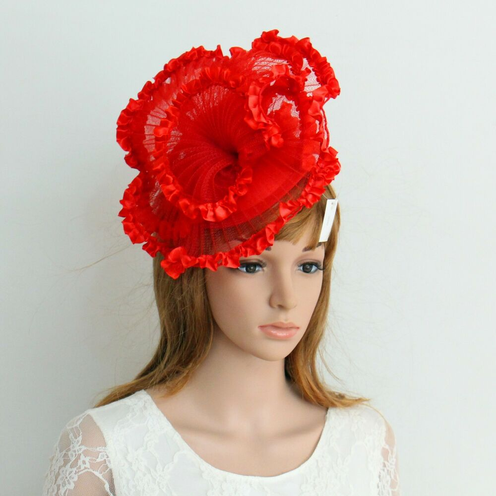 New church derby wedding pleated poly fascinator dress hat for Dress hats for weddings