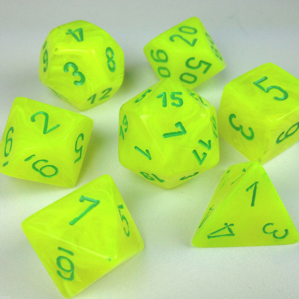 Chessex Dice Poly Vortex Electric Yellow W Green 7