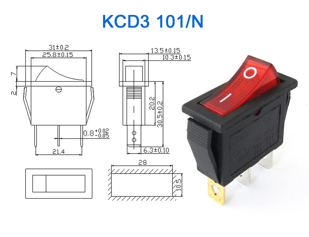 1pc KCD3 Red Button    OnOff    3Pin DPST Boat Car    Rocker
