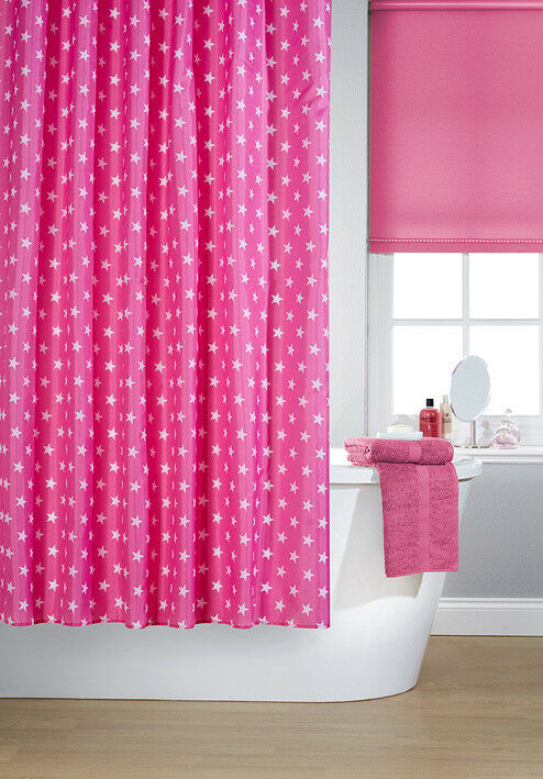 Details About Waterline Vibrant Hollywood Pink Polyester Shower Curtain Inc 12 White Hooks