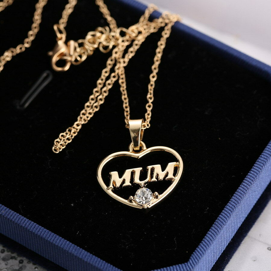 love heart mom charm pendant chain necklace gold crystal. Black Bedroom Furniture Sets. Home Design Ideas