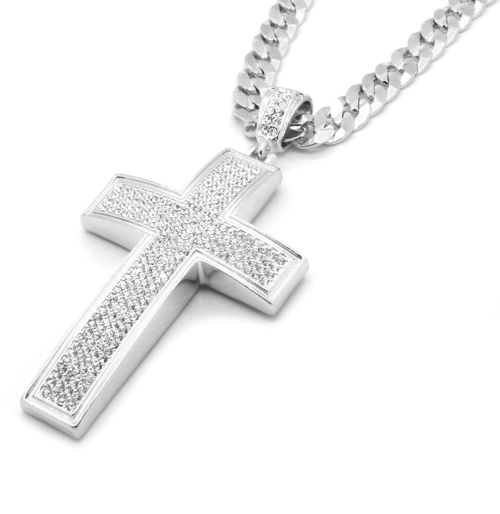 Mens silver iced out cross pendant hip hop 30 inch cuban for Black and blue jewelry cross necklace