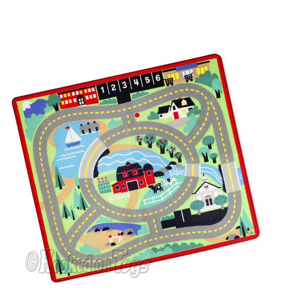"Melissa & Doug Round The Town Road Rug & Car Set 39"" X 36"