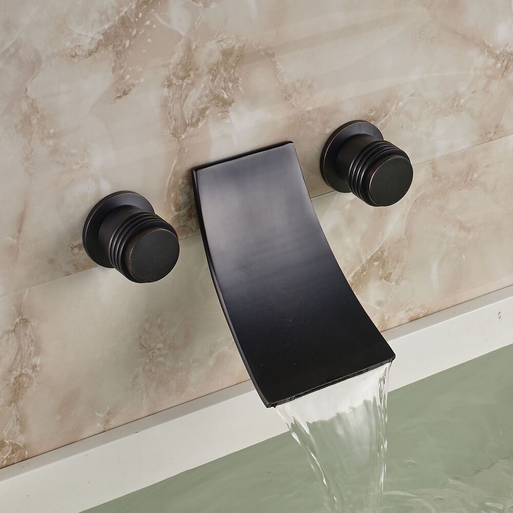 Wall Mount Bathroom Sink Mixer Tap Waterfall Spout Tub Faucet Oil Rubbed Bronze Ebay
