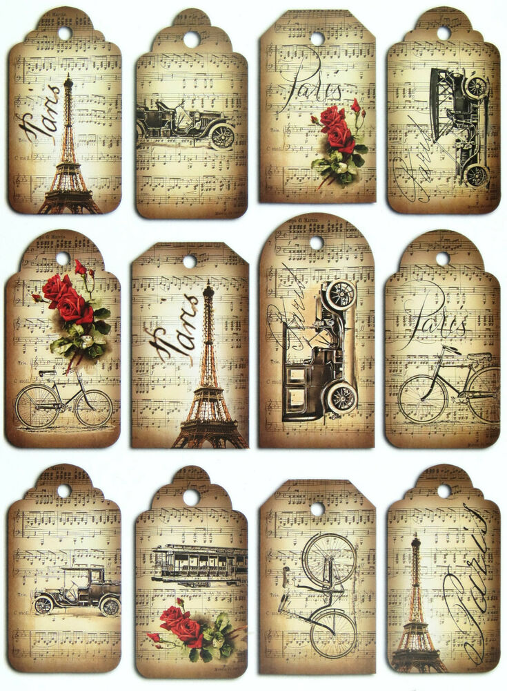 A 4 scrapbook paper gift hang single sheet 12 tags paris - Magasin de scrapbooking paris ...