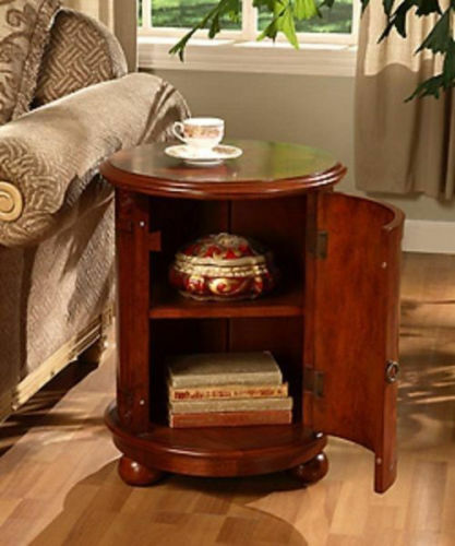 Table nightstand round birch wood drum end side storage for Drum side table