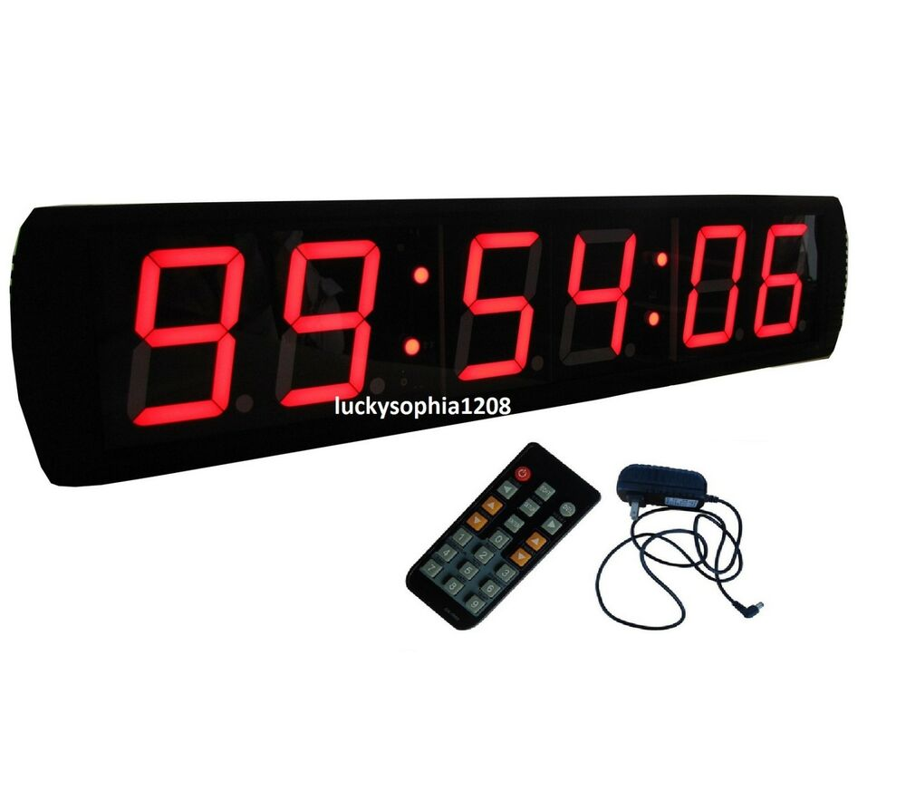 Large 4 39 39 led digital wall clock stopwatch count down up in mins secs hundredths ebay - Giant stopwatch wall clock ...