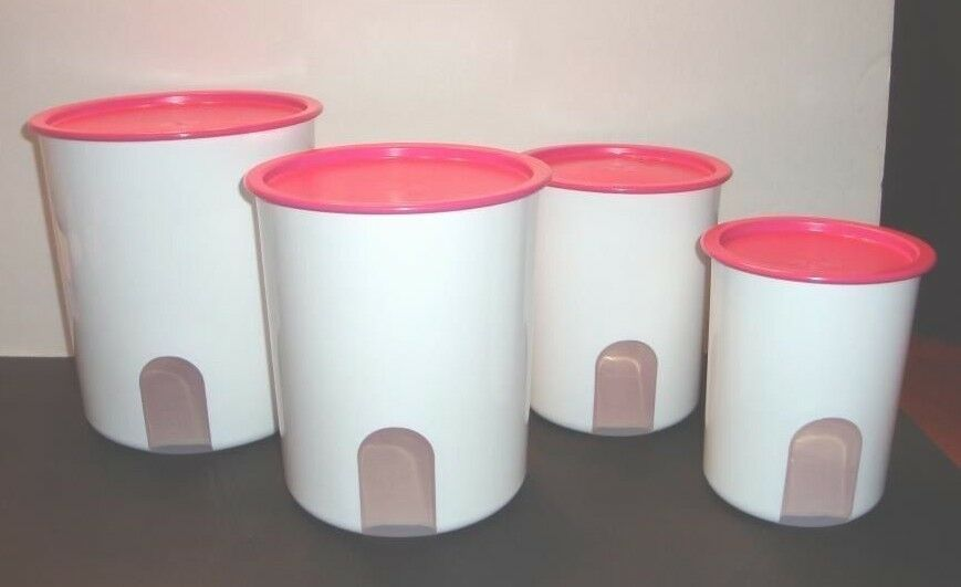 Pink Canister Set >> Tupperware Reminder Canisters Set of 4 w/ Pink Punch One Touch Seals HTF New | eBay