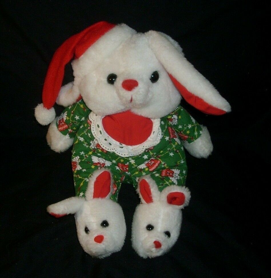 Christmas Plush Toys : Quot vintage christmas white red puppy dog bunny rabbit