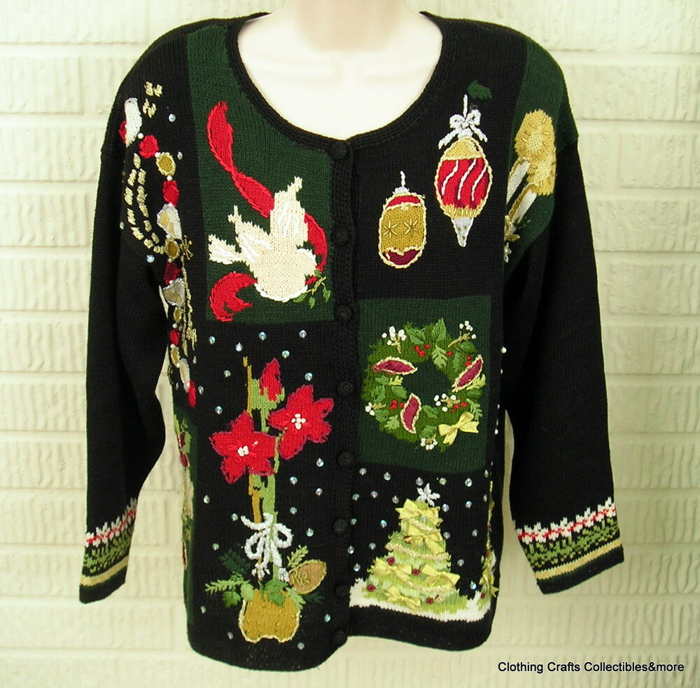 Ugly Christmas Party Sweaters: Ugly Christmas Sweater Party Black Womens Sz Small Tacky
