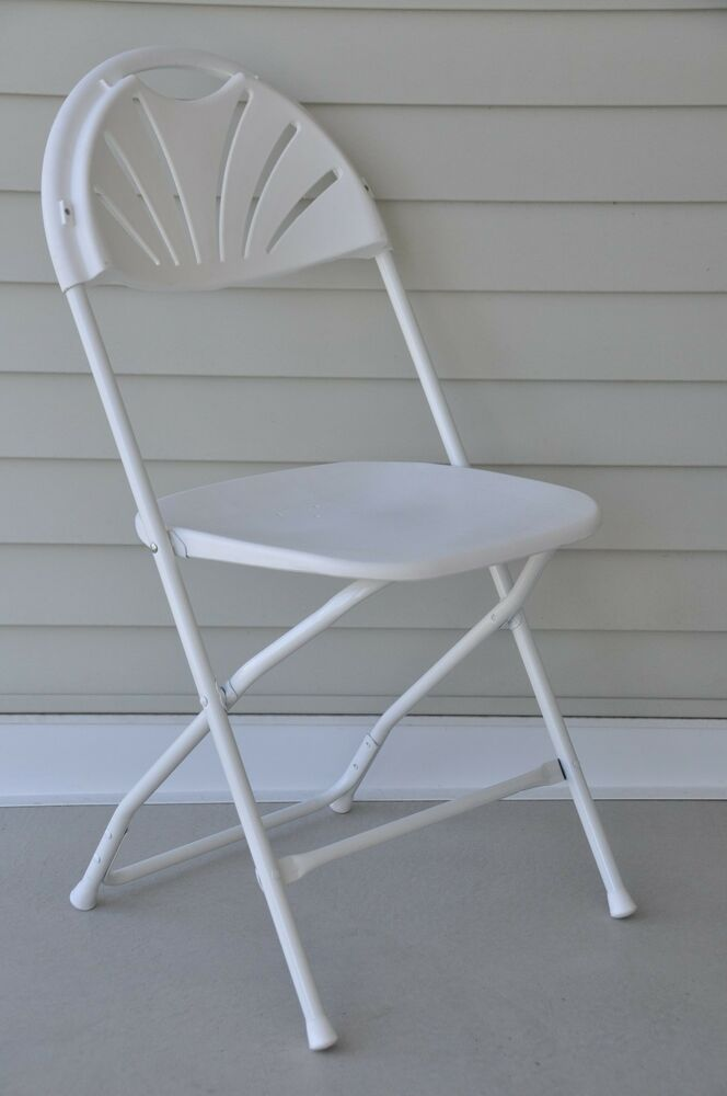 8 New White Plastic Fan Back Folding Chairs Stacking