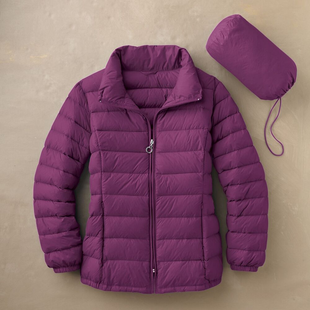 New 150 Travelsmith Women S Packable Down Sweater Jacket 90 Down M L Xl Ebay