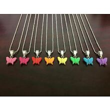 Butterfly Necklace Charm Girls Kids Jewelry Silver Plated Necklace
