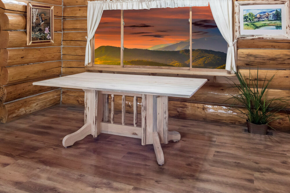 Rustic log dining tables amish handmade cabin lodge rustic for Handmade kitchen table